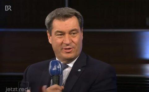 Screenshot von Markus Söder aus der Sendung des Bayrischen Rundfunks Jetzt red i