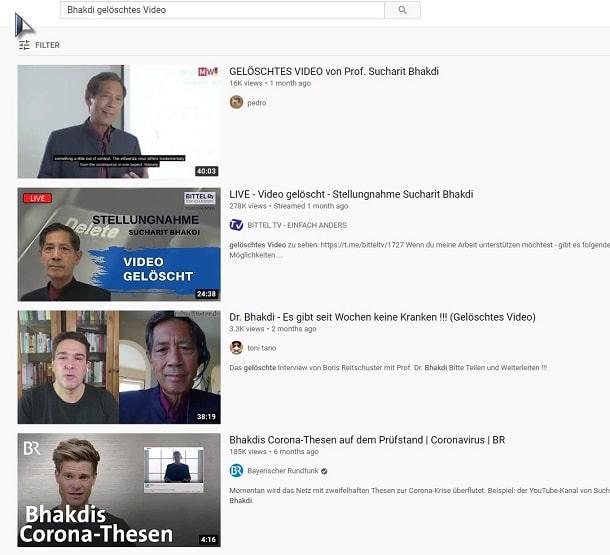 Prof. Bhakdi - gelöschte Videos auf Youtube