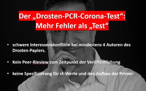 Drosten PCR Test fehlerhaft und mit Mängeln