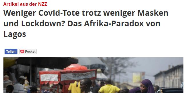 Weniger Covid Tote trotz weniger Maksen und Lockdown in Afrika